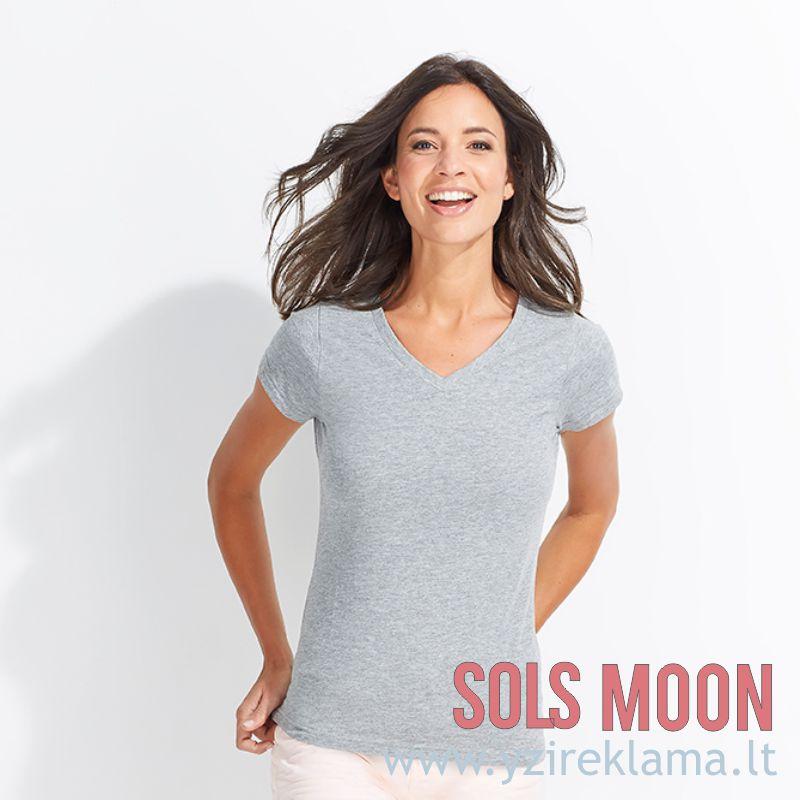 Marškinėliai moterims V formos apykakle  MOON